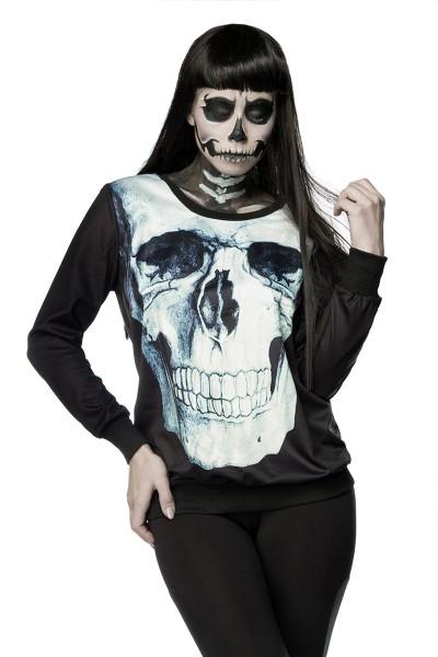 Schwarzes Damen Totenkopf Sweatshirt mit Totenkopf und Rosen Print Sweatshirt Faschingsverkleidung O