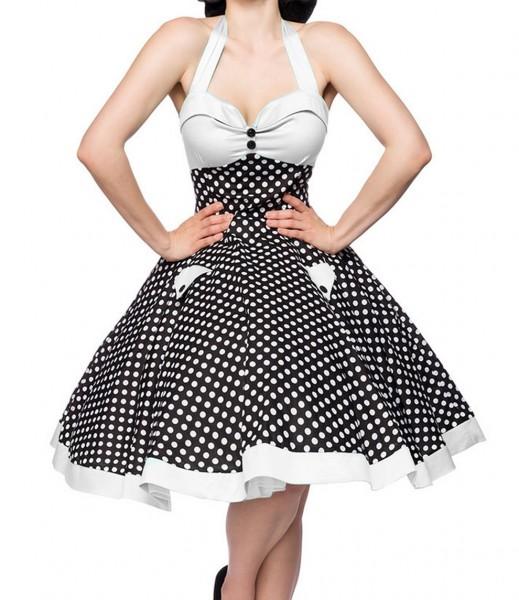 Ausgestelltes Rockabilly Kleid gepunktet mit Tellerrock als Neckholder zum binden Stoffknöpfe und Rü