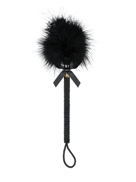 Gerte mit Schnürung und glänzenden Federn Tickler für sinnliche Spiele 25cm schwarz