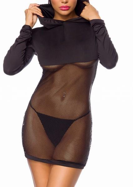 Schwarzes transparentes Kapuzenkleid für Damen mit langen Ärmeln Mesh Einsatz teiltransparent