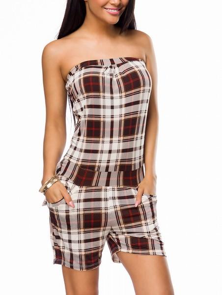 Beige braun karierter Damen Overall mit Taschen und Zierschleife Rückenfrei kurzer Overall