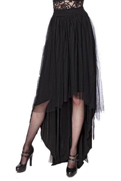 Schwarzer asymmetrischer Vintagerock mit Tüll und Jersey und hohem Bund Gothic Rock knielang Rockabi