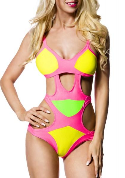 Pink gelber Monokini mit Cutouts und eingearbeiteten Cups Badeanzug mit Löchern