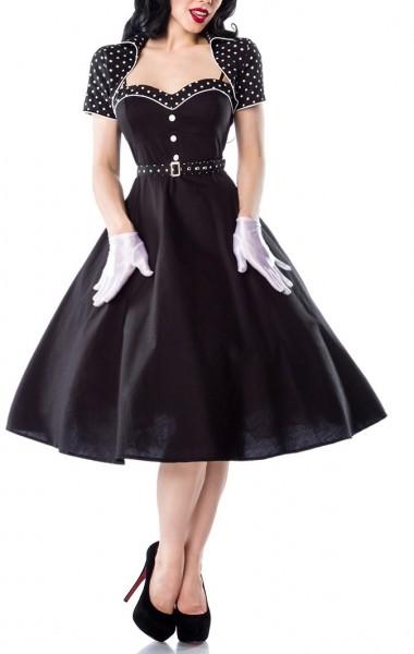 Schwarzes Damen Rockabilly Kleid mit Bolero und Gürtel Pünktchenmuster am Ausschnitt