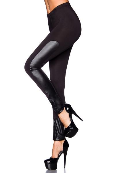 Schwarze Leggings mit Wetlookeinsätzen an der Seite glänzend eng dehnbar