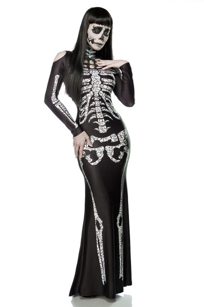 Damen Skelett Verkleidung Maxikleid dehnbar mit Cut Outs Skelett Kostüm Kleid schwarz weiß OneSize X