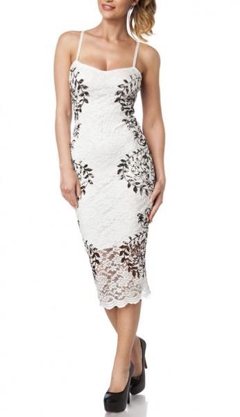 Spitzenkleid luftig Damen Sommerkleid in schwarz weiß mit Muster Blätter-Design schmale Träger lang
