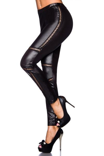 Schwarze Damen Wetlook Leggings mit Kunstleder Einsätzen und Schnürung Optik elastischer Bund