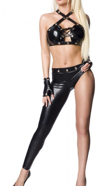 Erotisches Damen Dessous wetlook Set aus Neckholder Top, einbeinige Leggings und Handschuhe in schwa