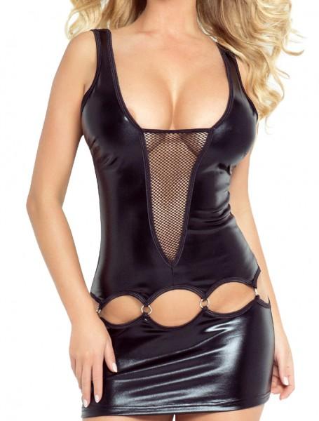 Schwarzes Damen Dessous fetisch Wetlook Kleid eng mit V-Ausschnitt Gogo-Minikleid mit Löchern