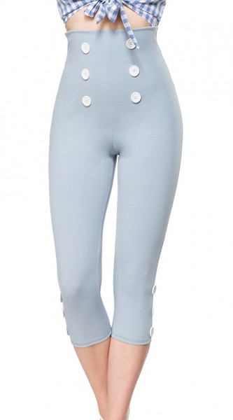 Hellblaue High Waist Caprihose mit Reißverschluss und eng geschnitten mit Knöpfen Stoff Caprihose Ro