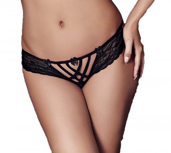 Schwarzer transparenter Slip Panty aus Spitze mit Bändern Tüll Blumenmuster-Slip Ausschnitt knapp