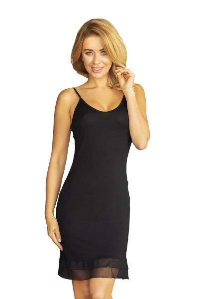 Schwarzes Frauen Nachtkleid Dessous Chemise blickdicht dehnbar erotisches Mini-Kleid knielang