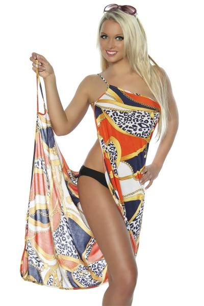 Strandtuch bunt gemustert zum binden elegantes Sommerkleid leichtes Tuch orange