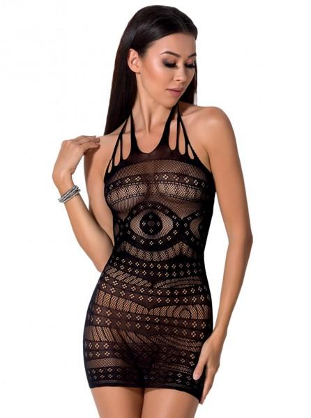 Erotisches Damen Dessous Minikleid aus Netz Metarial dehnbar transparent sexy kurz Neckholder Kleid