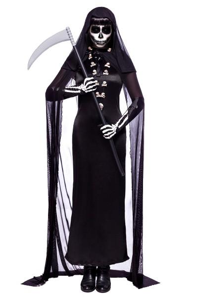 Damen Geister Zombie Kostüm Sensenmann Verkleidung aus Kleid, Handschuhe, Kochenkette, Sense und Per