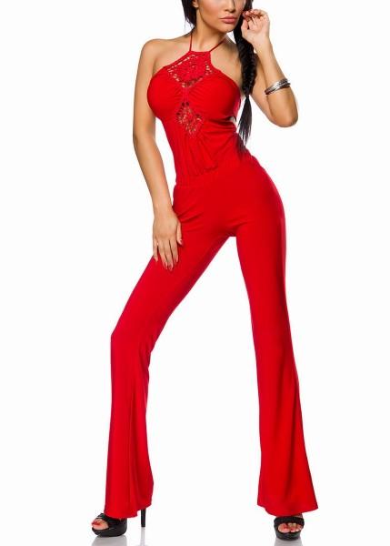 Roter Damen Neckholder Overall aus Jersey mit Rückenschnürung und ausgestellten Beinen Onesize