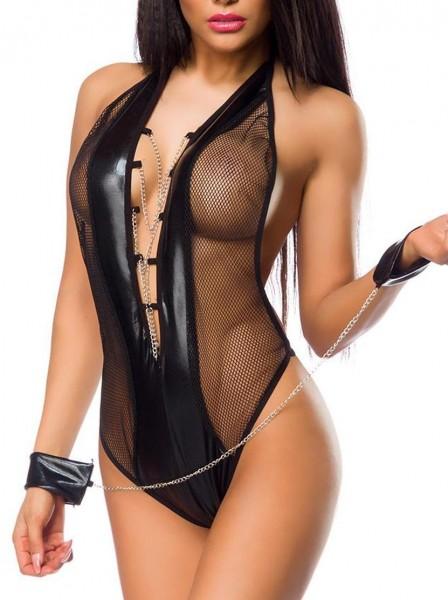 Schwarzer enger Damen Wetlook Body mit Netz Neckholder Metallketten schwarz Schnürung S-M
