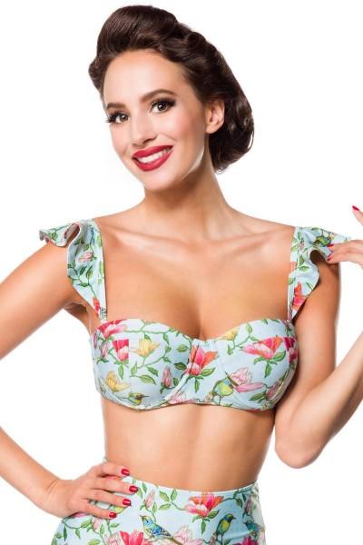 Elastischer Damen Bikinioberteil Träger Neckholder Top und Vögel Blüten Blumen Muster Türkis bunt Pu