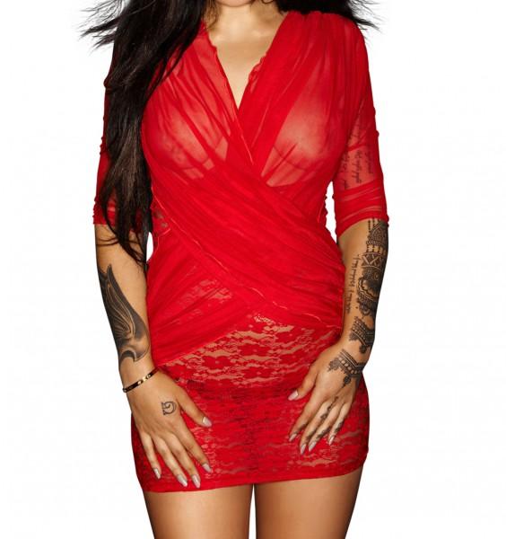 Rotes Minikleid Dessous Nachtkleid aus Spitze und Tüll transparent langarm dehnbar