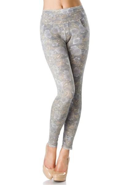 Helle blickdichte Damen Legging mit Paisley Blumenmuster und aufgesetzten Taschen Print Legging brei