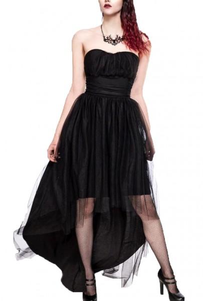 Tüllkleid Damen ausgestelltes Kleid in schwarz mit Jersey hinten lang Vintagekleid mit ohne Träger
