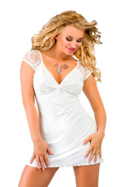 Luftiges Damen Dessous Nachtkleid Mini-Kleid in ecru weiß blickdicht dehnbar mit Spitze Sommerkleid