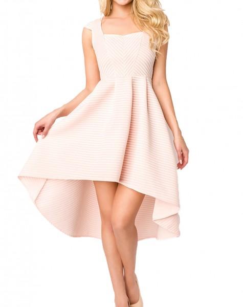 Sommerkleid knielang mit Carre Ausschnitt, Falten und kurzen Ärmeln elegantes Damen Abendkleid