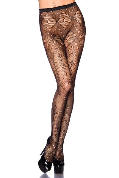Transparente schwarze Damen Strumpfhose mit Karo Muster und elastischem Bund