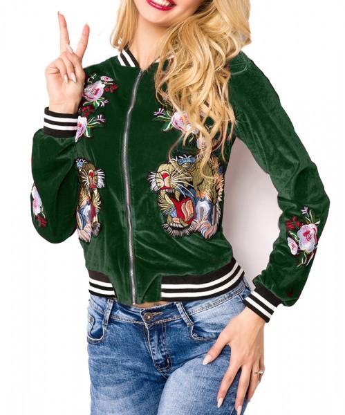 Grüne kurze Samt Blouson Jacke mit langen Ärmeln und Tiger sowie Blumenmuster Metallreißverschluss v