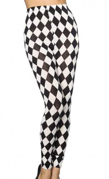 Damen Leggings mit Print Hose mit Rautenmuster Druck weich elastisch OneSize XS-M