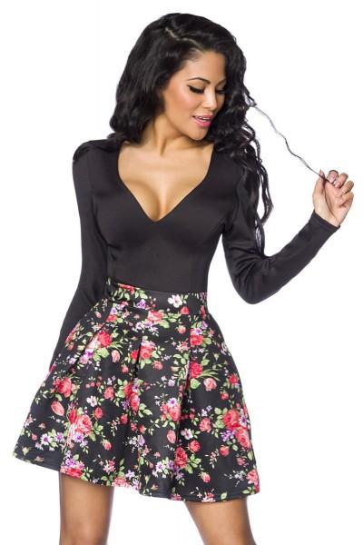 Langärmliges Sommerkleid mit angesetztem Blumenmuster Rockteil und tiefem Ausschnitt