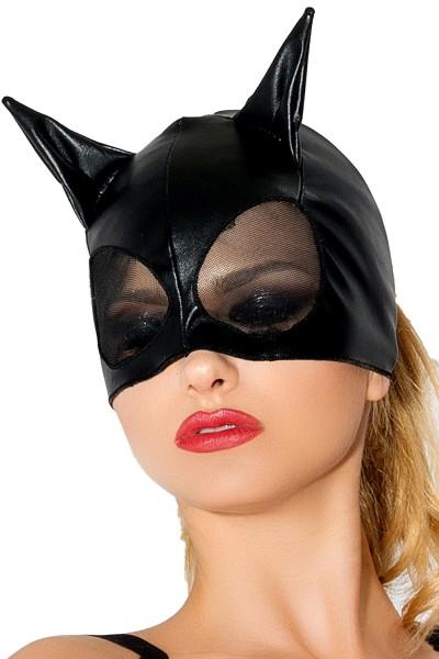 Schwarze Katzenmaske aus wetlook Material Katzen Verkleidung Maske OnseSize