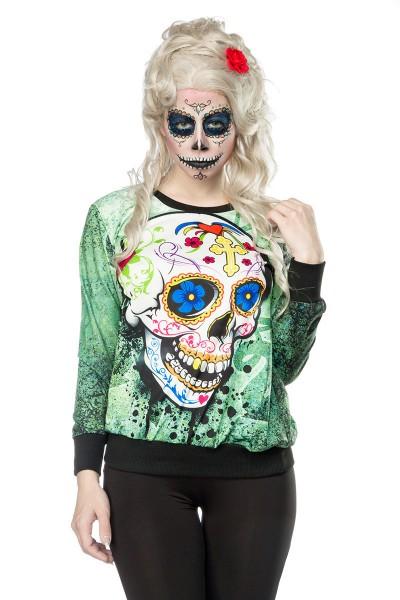 Grünes Damen Totenkopf Sweatshirt mit Totenkopf und Rosen Print Sweatshirt Faschingsverkleidung Outf