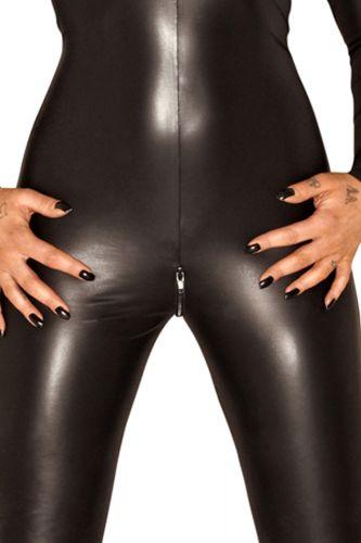 schwarzes damen dessous wetlook catsuit overall eng mit rei verschlu ebay. Black Bedroom Furniture Sets. Home Design Ideas