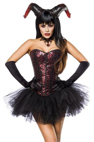 Damen Pailletten Fantasy Kostüm Teufel Verkleidung Aus Corsage